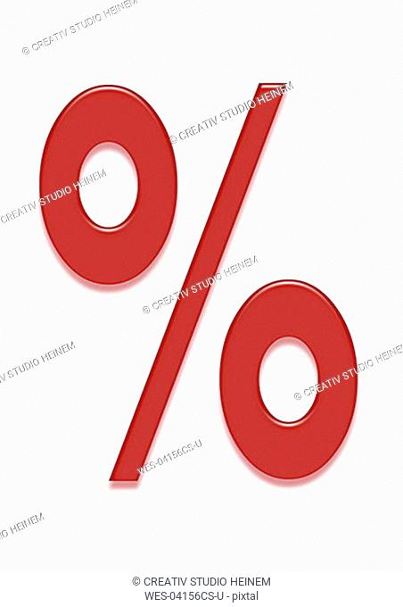 Red percent sign, symbol for bargain