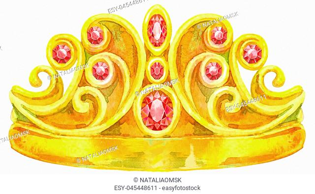 Watercolor Gold Crown with jewels of ruby