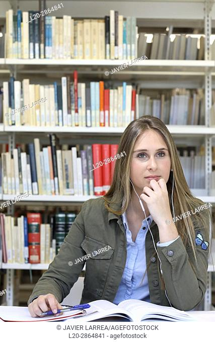 Student in the library, University of the Basque Country, Donostia, Gipuzkoa, Spain