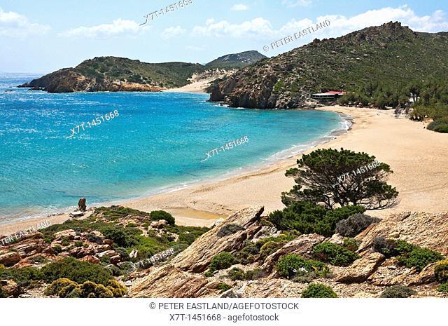 Looking down on Vai beach on Crete's Eastern coast, Greece