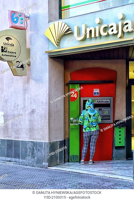 ATM in the town centre of Cadiz, Andalusia, Spain