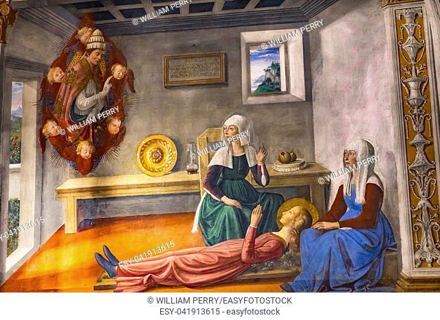 Death Announcement Saint Gregory to Saint Fina Medieval Renaissance Fresco Collegiate Church of Santa Maria Assunta San Gimignano Tuscany Italy