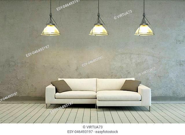 sofa in modern scandinavian Interior design with canvas 3D Rendering