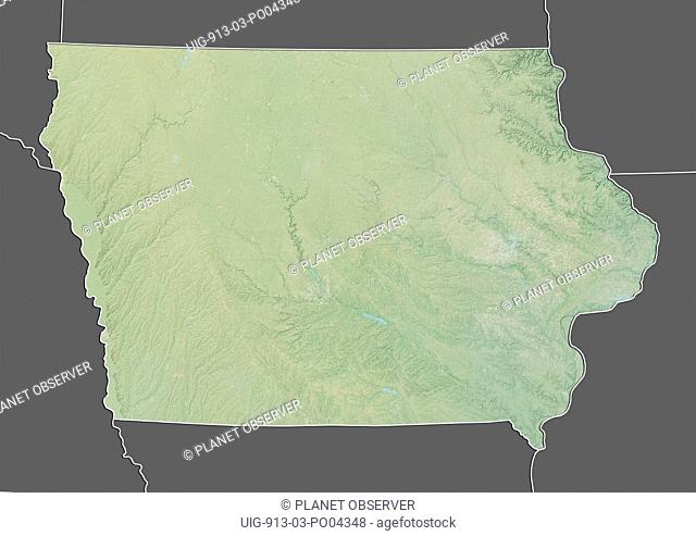 Relief map of the State of Iowa, United States. This image was compiled from data acquired by LANDSAT 5 & 7 satellites combined with elevation data