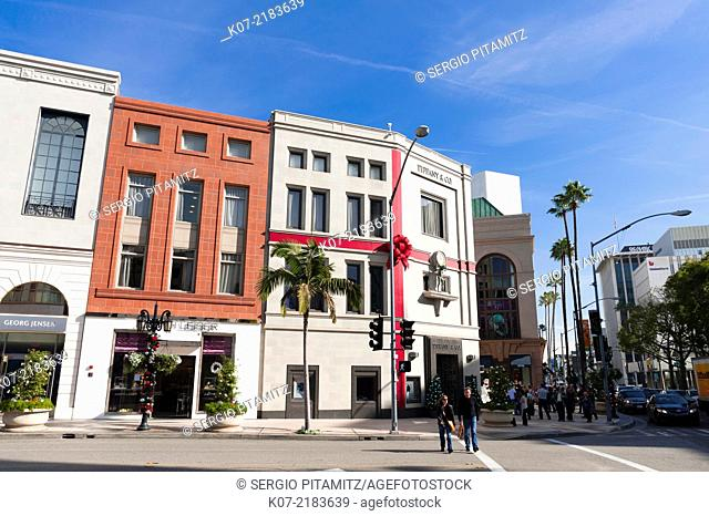 Rodeo Drive at Christmas, Beverly Hills, Los Angeles, California, USA