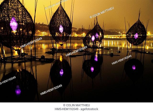 France, Rhone, Lyon, Fete des Lumieres Light festival, Decembre 8th, Rhone bank, Quai Sarrail, nature Mature by artist Francois Magos