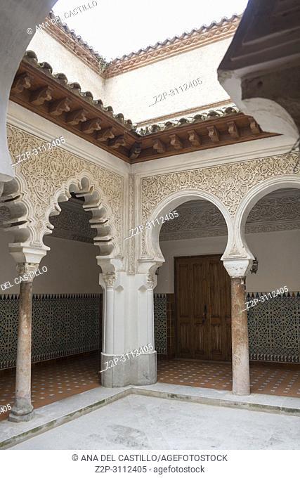 St Clara monastery Tordesillas monumental town in Castile Leon Spain. Moorish courtyard