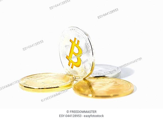 Abstract photo of cryptocyrrency. Some cryptocurrency coins in mans hand. Isolated on white background