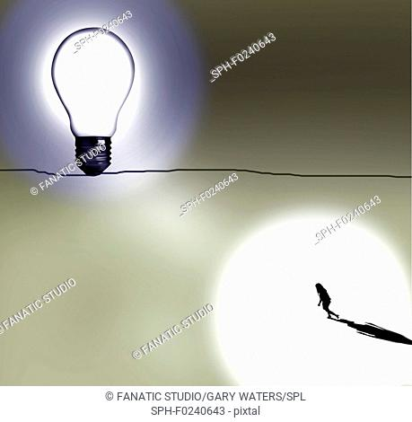 Conceptual illustration of a woman walking towards a bright light depicting personal goals