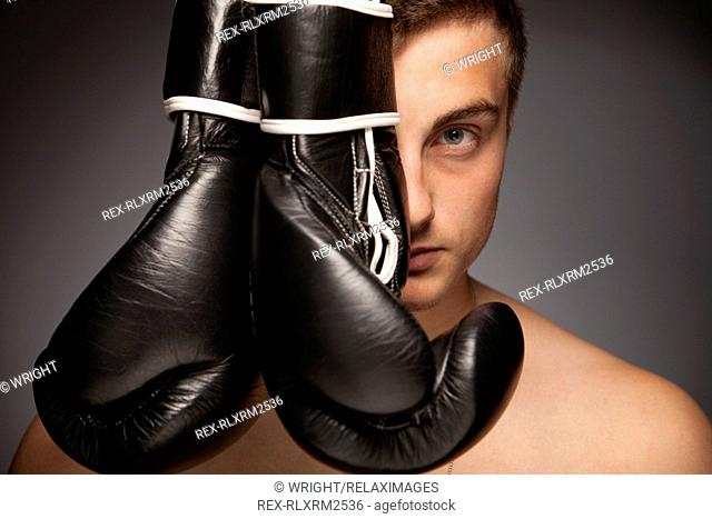 Teenager man confident boxer boxing gloves boy