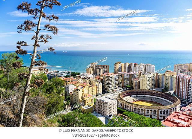 Overview of La Malagueta district and Bullring. Malaga, Andalusia, Spain