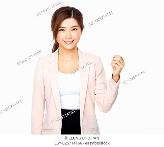 Young businesswoman showing with name card