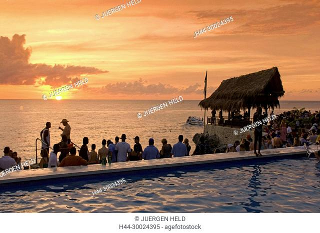 Jamaica Negril Ricks Cafe open air bar viewpoint at sunset