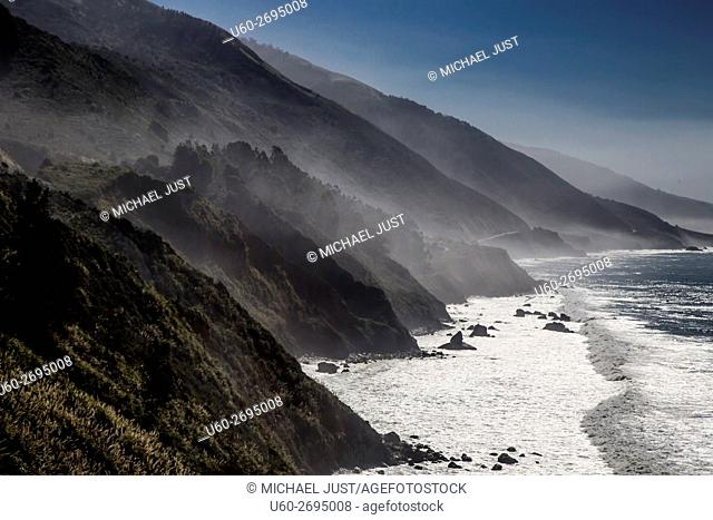 Fog rolls into the highlands along California's Pacific Ocean Coast at Big Sur