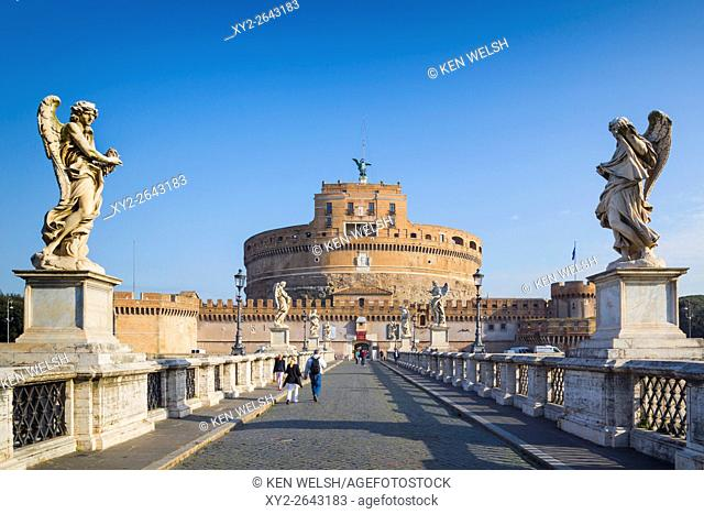 Rome, Italy. Looking across Ponte Sant'Angelo to Castel Sant'Angelo