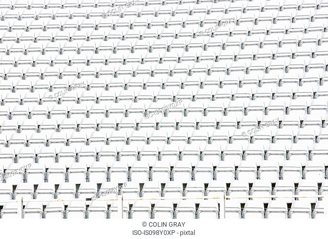 Empty stadium seats, full frame
