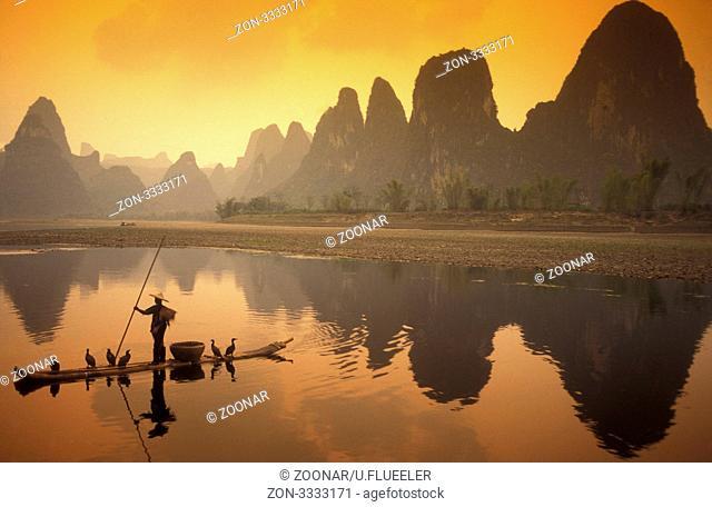 Ein Komoran Fisch auf dem Li River bei Yangshou bei Guilin in der Provinz Guangxi in China