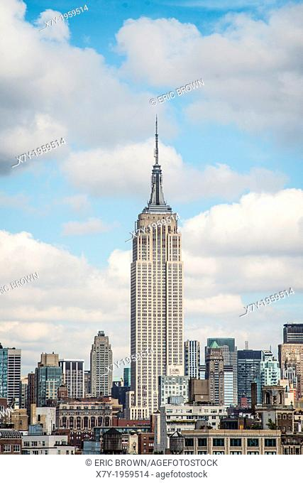 Skyline of New York City prominently featuring the Empire State Building