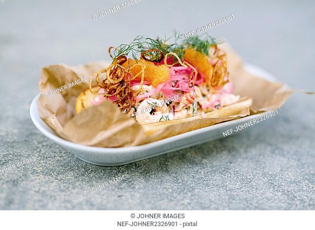 Shrimps on sandwich