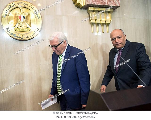 German Minister for ForeignAffairs FrankWalter Steinmeier (L, SPD) and his Egyptian counterpart Sameh Shoukry arrive for a news conference in Cairo, Egypt
