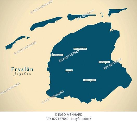 Modern Map - Fryslan NL illustration