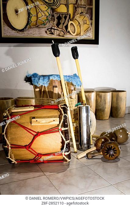 Tambora, Gaitas, Tambor Llamador, Tambor Alegre, Guache and Maracas. Traditional folk instruments set of the Atlantic coast of Colombia used to interpret...