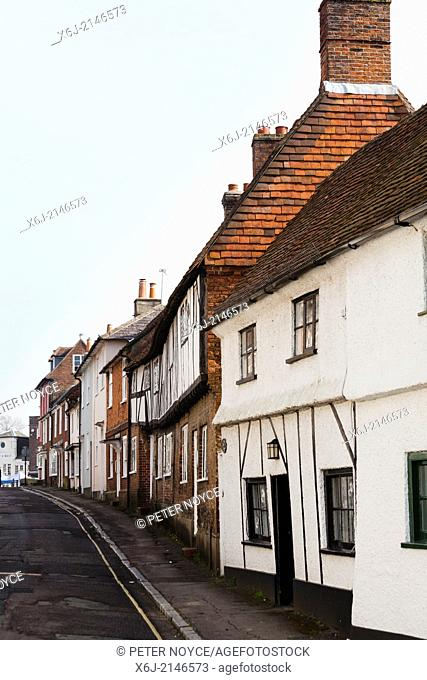 Old beamed terraced cottages in Sheep Street Petersfield
