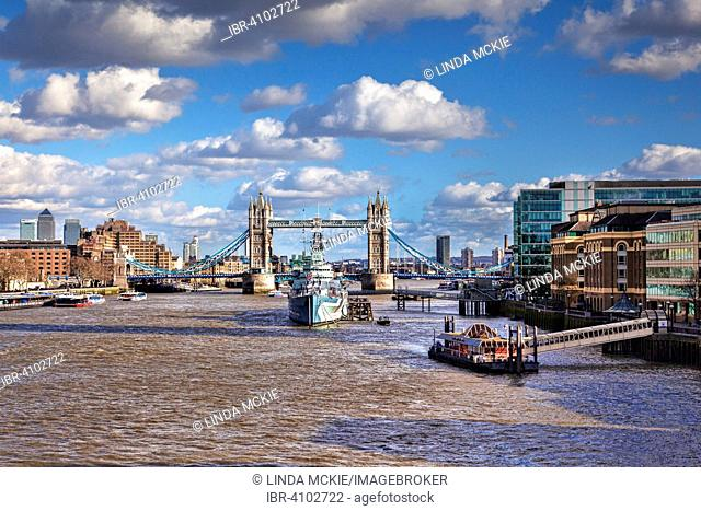 River Thames with HMS Belfast and Tower Bridge, London, England, United Kingdom