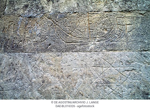 Carving of ship and geometric figures on the external walls of the Church of Hagia Sophia, Trabzon, Black Sea region, Turkey