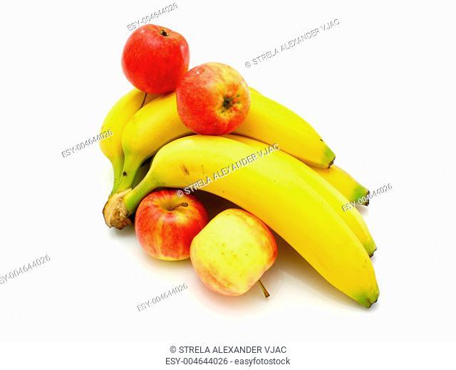 Yellow bananas apples and pears