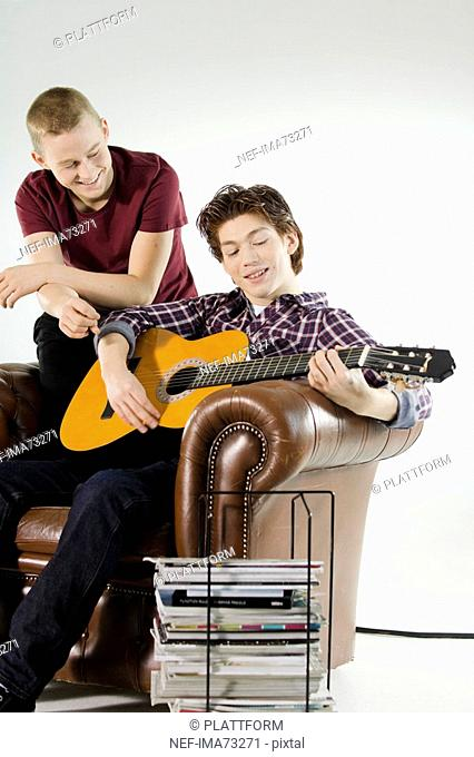 Two teenagers hanging out