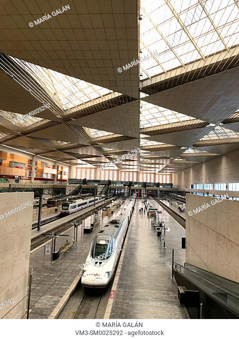 AVE high-speed train at Zaragoza-Delicias railway station. Zaragoza, Spain