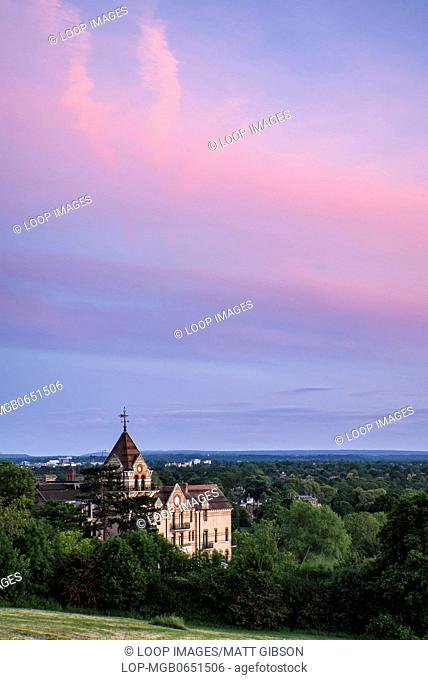 Sunset view over Petersham Hotel on Richmond Hill in London