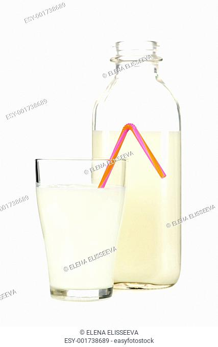Bottle and glass of white milk