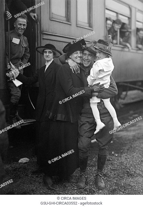 U.S Army Troops Saying Farewell Before Heading off to Military Training Camp, Harris & Ewing, 1917