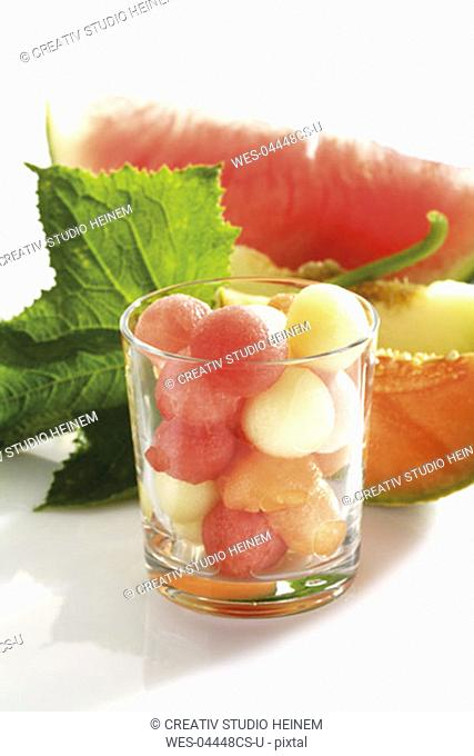 Melon balls in glass