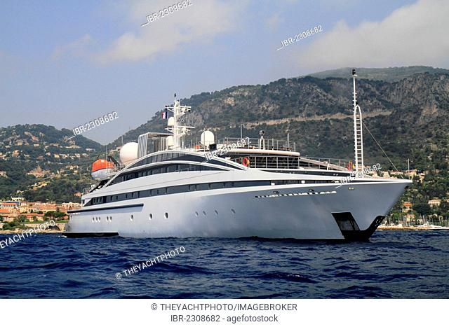 RM Elegant, a cruiser built by Kanellos Bros, Length: 72.48 meters, built in 2005, Cap Ferrat, French Riviera, France, Mediterranean Sea, Europe