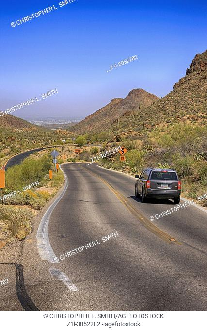 Kinney Road in the Saguaro West Tucson Mountain area National Park in Arizona USA