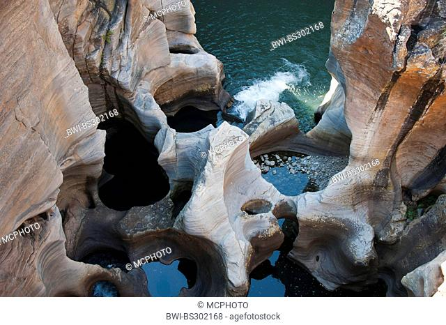 Bourke's Luck Potholes, famous cylindrical or kettle-like erosions at the shore of the Treur River, South Africa, Mpumalanga, Panorama Route, Graskop