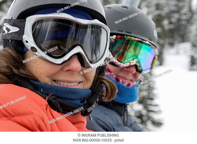 Close-up of a female skier smiling, Whistler, British Columbia, Canada