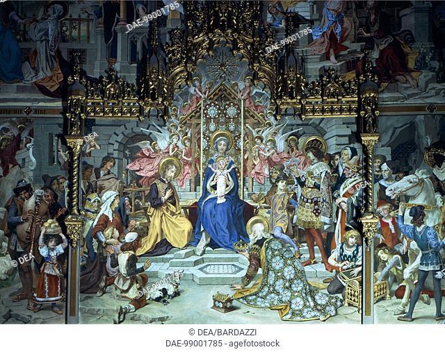 Nativity of Jesus, 1892, Ludwig Seitz (1844-1908), fresco, Chapel Choir or German Chapel, Sanctuary of the Holy House, Loreto, Marche. Detail