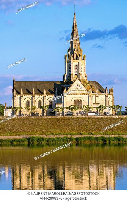 Sainte-Marie-Madeleine Church and Loire River banks at Dusk, Brehemont Village. Indre-et-Loire Department, Centre-Val de Loire Region, Loire valley, France