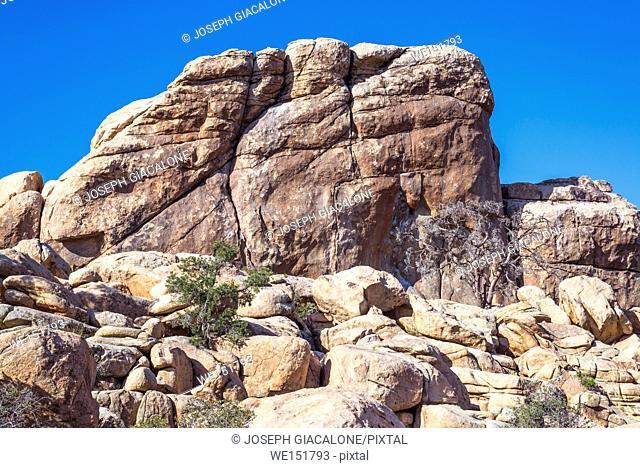 Rock formations and desert landscape at Hidden Valley. Joshua Tree Natiional Park ,California, USA