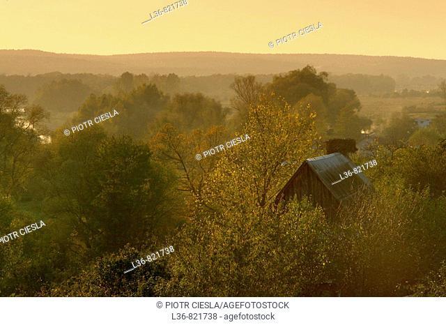 A view Podlasie. Mielnik villiage. Nadbuzanski Scenic Park. Nadbuzanski Park Krajobrazowy. Autumn