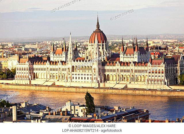 A view of the Hungarian Parliament building on the banks of the River Danube