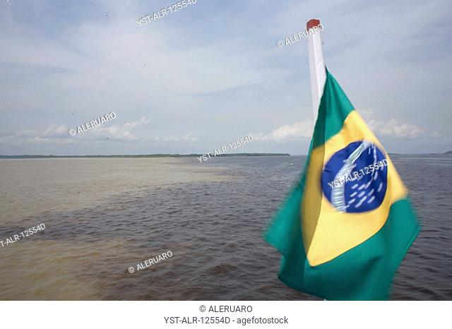 Flag, Encounter of the Waters, Negro River, Solimões River, Amazônia, Manaus, Amazonas, Brazil