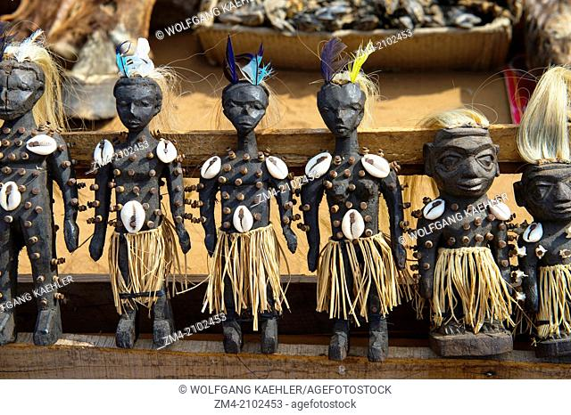 Voodoo dolls on the Akodessewa Fetish Market, in Lome, Togo, known as the world's largest voodoo market