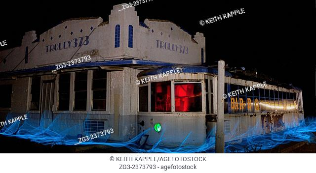 Abandoned roadside restaurant, light painting, West Texas