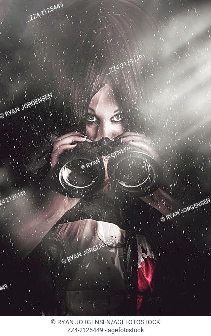 Creative caricature portrait of a mysterious woman spy watching under the cover of darkness and rain with comic style binoculars
