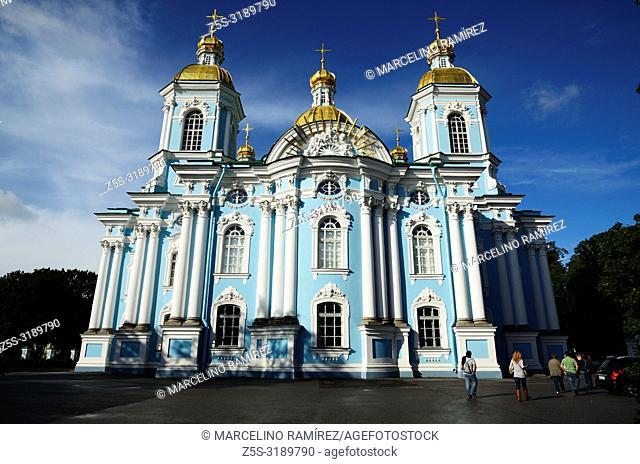 St. Nicholas Naval Cathedral is a major Baroque Orthodox cathedral in Saint Petersburg. Saint Petersburg, Northwestern, Russia